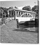 Halls Mill Covered Bridge Landscape Black And White Acrylic Print