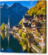 Hallstatt In Fall Acrylic Print