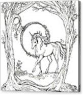 Haloed Unicorn In The Woods Acrylic Print