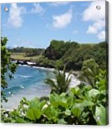 Hamoa Beach Tropical Hana Maui Hawaii Waves And Surfers Acrylic Print