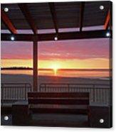 Hampton Beach Sunrise Hampton Beach State Park Hampton Nh Bench 2 Acrylic Print