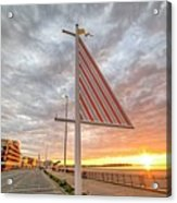 Hampton Beach Sunrise Hampton Beach State Park Hampton Nh Flag Acrylic Print
