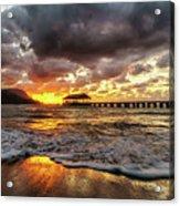 Hanalei Pier Reflections Acrylic Print