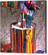 Hand Coming Out Of Paint Can Acrylic Print by Garry Gay