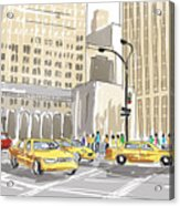 Hand Drawn Sketch Of A Busy New York City Street Acrylic Print
