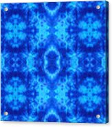 Hand-dyed Blue And Turquoise Fabric With Zig Zag Stitch Details  Acrylic Print