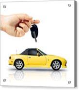 Hand Holding Key To Yellow Sports Car Acrylic Print