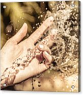 Hand Of A Woman Catching Water Stream Acrylic Print