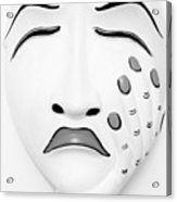 Hand On Face Mask B W Acrylic Print