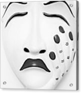 Hand On Face Mask Black White Acrylic Print