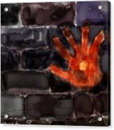 Hand On The Hole On The Wall Acrylic Print