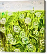 Hand Painted Picture, Meadow With White Dandelines Acrylic Print