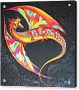 Hand Painted Silk Scarf Dragon On Black Acrylic Print
