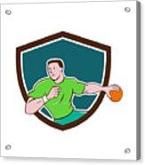 Handball Player Throwing Ball Crest Cartoon Acrylic Print