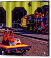 Handcar And Old Train Acrylic Print