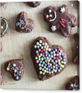 Handmade Decorated Gingerbread Heart And People Figures Acrylic Print