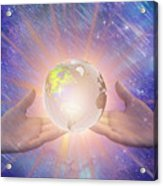 Hands With A Glowing Earth Acrylic Print