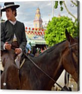 Handsome Man And Beautiful Woman Drinking On Horseback With 2015 Acrylic Print