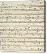 Handwritten Score For Waltz In Flat Major Acrylic Print