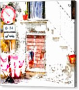 Hanging Clothes Under Road Sign Acrylic Print