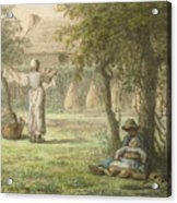 Hanging Out The Laundry By Jean-francois Millet Acrylic Print