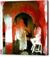 Hanging Out Travel Exotic Arches Red Abstract Square India Rajasthan 1e Acrylic Print