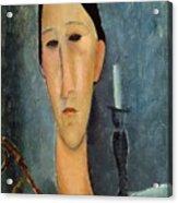 Hanka Zborowska With A Candlestick Acrylic Print by Amedeo Modigliani