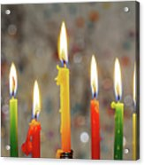 Hanukkah Menorah With Burning Candles Acrylic Print