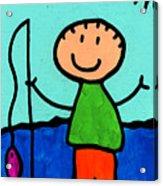 Happi Arte 2 - Boy Fish Art Acrylic Print by Sharon Cummings