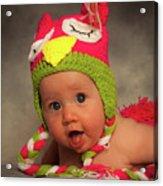 Happy Baby In A Woollen Hat Acrylic Print