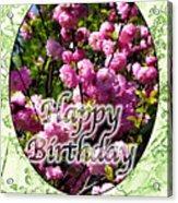 Happy Birthday - Greeting Card - Almond Blossoms No. 1 Acrylic Print
