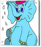 Happy Blue Elephant Acrylic Print