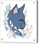 Happy Cat In The Springtime Garden Acrylic Print