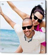 Happy Couple On Beach Acrylic Print