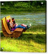 Young Family Enjoying The Swiss Country Side Acrylic Print
