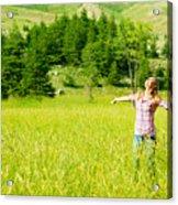 Happy Girl Enjoying Nature Acrylic Print