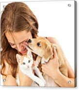 Happy Girl With Kitten And Affectionate Puppy Acrylic Print