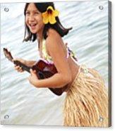 Happy Girl With Ukulele Acrylic Print by Brandon Tabiolo - Printscapes