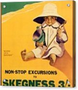 Happy Little Boy Playing On The Beach In Skegness - Great Northern Railway - Vintage Poster Acrylic Print