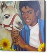 Happy Michael Jackson With His Pet Llama  Acrylic Print