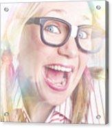Happy Nerd Girl Singing Karaoke And Dancing Acrylic Print