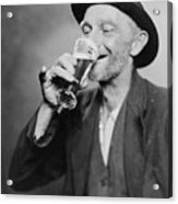 Happy Old Man Drinking Glass Of Beer Acrylic Print by Everett