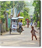 Happy Philippine Street Scene Acrylic Print by James BO  Insogna