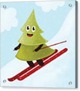 Happy Pine Tree On Ski Acrylic Print