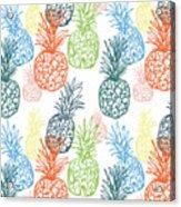 Happy Pineapple- Art By Linda Woods Acrylic Print