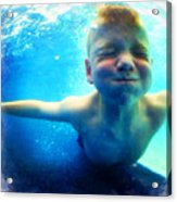Happy Under Water Pool Boy Square Acrylic Print