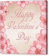 Happy Valentine Pink Heart Acrylic Print