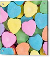 Happy Valentines Day With Colorful Heart Shaped Candies Acrylic Print