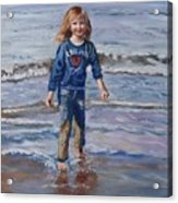 Happy With Sea And Sand Acrylic Print