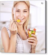 Happy Woman Eat Fruit Salad Acrylic Print